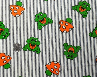 1970s Frogs and Toadstools on Blue and White Striped Denim Weight Fabric