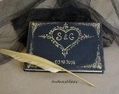 Elegant goth wedding guest book, Personalized guest book, Black guest book, Black Gold wedding set, gold feather pen  and pen holder