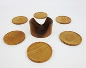 6 Vintage Wooden Coasters with a Display