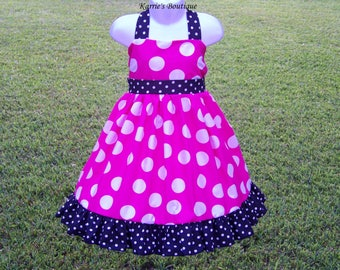 Halter Dress / Hot Pink & White Dots + Black / Sundress / Jumper / Pageant / Disney / Birthday / Infant / Baby / Girl / Toddler / Boutique