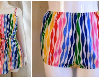Vintage 1960s Romper Rainbow Striped 2 Piece Set Never Worn Pinup Bombshell