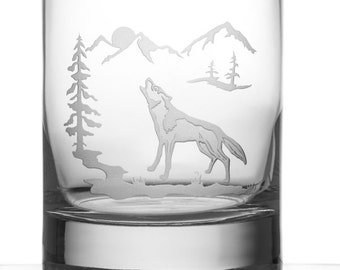 Howling Wolf, 13oz Rocks Glass, Etched (Sandblasted), Original Design