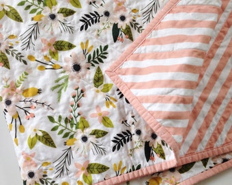 Baby Quilt, Toddler Quilt, Whole Cloth Quilt, Girl Quilt, Floral, Stripe, Polka Dot, Sprigs & Bloom