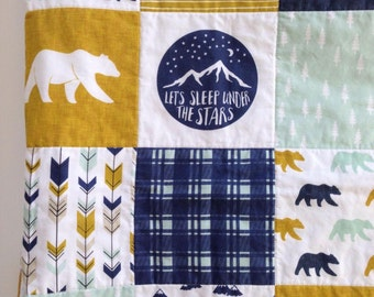 Baby Quilt, Toddler Quilt, Whole Cloth Quilt, Woodland Nursery, Happy Camper Quilt, Bear Blanket, Moose Blanket, Buffalo Plaid