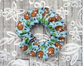 Fox Scrunchie - Blue Hair Scrunchy / Hair Elastic / Fox Hair Accessory / Illustrated Forest Fabric / Large Cotton Scrunchie / Fox Lover Gift