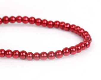 3mm BRIGHT CHRISTMAS RED Cranberry Round Glass Pearl Beads, double strand, about 270 beads, bgl1605
