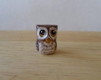 miniature owl figurine, small owl, bird paper clay sculpture, owl totem #131