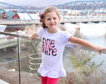 Girl Shirt or Bodysuit with name - Pocketful of Posies - beautiful black, pink and red fabric spelling out her name