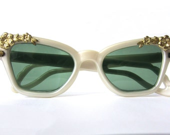 SALE with Coupon Code-Vintage 1950s Rayex Sunglasses with Gold Floral Embellishment
