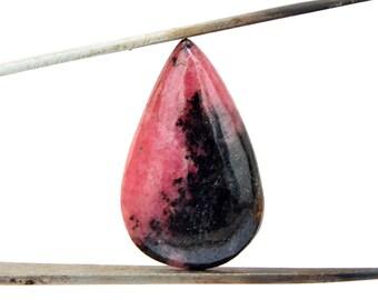 Rhodonite Cabochon Gemstone (30mm x 18mm x 4mm) 23cts - Drop Cabochon Stone