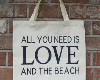 Love And The Beach Canvas Tote Bag