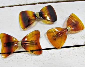 Vintage 1970's Bow Shaped Tortoise-Shell Hair Barrette Clips (Set of 3)