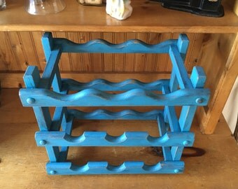 Rustic Farmhouse Wood  12 Bottle Wine Rack -  Shabby Chic Distressed Turquoise Blue Teal