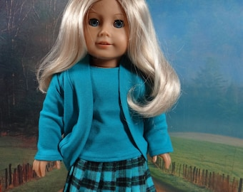 Pleated skirt, tee and shrug for American Girl or similar 18 inch doll