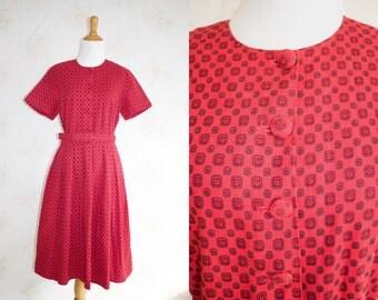 Vintage 50s Red Dress, 1950s Corduroy Day Dress, Short Sleeve, Novelty Print, A Line