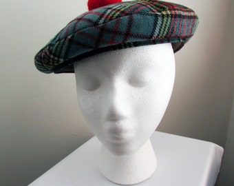 1950s/1960s vintage blue plaid tam o' shanter made in London