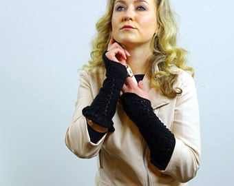 Knit Fingerless Gloves White Black Red