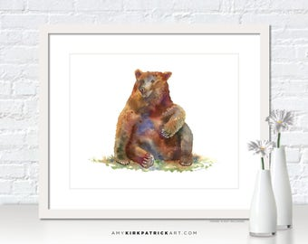 Sitting Bear Watercolor Painting, Brown Bear Print, Bear Greeting Cards, Bear Original Painting, Bear Wall Decor, Bear Wall Art, Bear