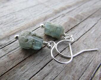 Raw Aquamarine Earrings, rough cut gemstone nuggets, dangle earrings