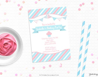 Personalized Printable Cupcake Party Invitation - Baking Invite and Favor Tag or Printable Party, Baking Birthday or Baking Party
