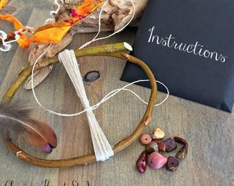 Willow Dream Catcher kit , mookaite stones , nature talisman