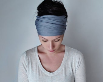SLATE BLUE Head Scarf - Extra Wide Jersey Hair Wrap - Steel Blue Yoga Headband - Boho Hair Accessories - Bohemian Head Scarves