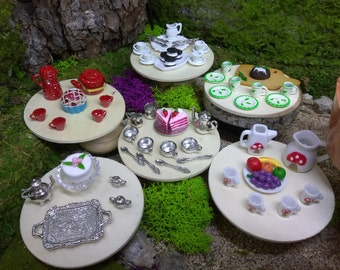6 Coffee, Tea and Desert Sets For Fairy Garden or Dollhouse Miniature Food Enjoyment