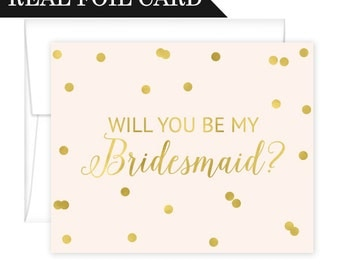 Will You Be My Bridesmaid Cards Foil Confetti - Matron of Honor Cards - Maid of Honor Cards - Flower Girl Cards - Will You Be My Maid