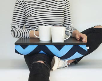 Chevron print tea tray with pillow, Laptop stand, serving Tray - black tray, blue chevron print pillow