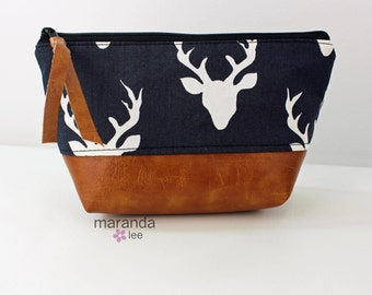 AVA Small Clutch -  Buck Heads with PU Leather  Cosmetic Toiletries bag Travel Make Up Zipper Pouch