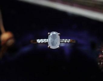 Custom Engagement Ring, Deposit, Grey Diamond Ring, Pave Diamond Band, Payment Plan, Rose Cut Diamond Ring, Handmade Engagement Ring.