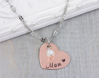 Personalized Mom Necklace - Mothers Necklace - Hand Stamped Jewelry - Mothers Day Gift for Mom - Personalized Heart Necklace