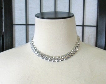 Vintage Crown Trifari Necklace Silver Tone Metal Chain Link Choker 1950s Jewelry