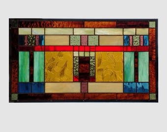 Arts and crafts stained glass panel window hanging amber stained glass window panel prairie mission style 0223 20 3/8 x 11 3/8