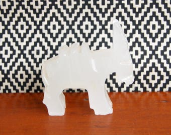 Stone Donkey Figurine Vintage White Burro Agate Paperweight Gift under 20 Beast of Burden