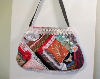 Crazy quilt purse/bag OOAK  handmade