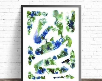 Green Print. Nature prints. Green home decor. Modern prints. Modern home decor. Ink print. Modern art print. Green wall art. Modern art
