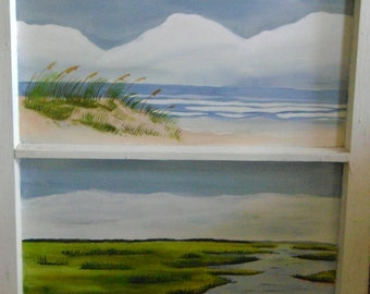Beach and Marsh painted on antique window with two panes