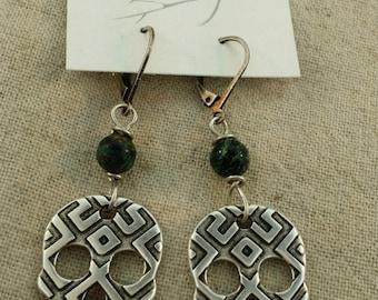 Sugar skull geometric earrings