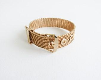 Gold Mesh Belt Vintage Avon Bracelet with Buckle