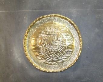 Vintage Brass Viking Ship Wall Plaque Chimney Flue Cover