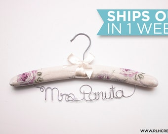 Padded Wedding Hanger / Personalized Bridal Hanger / Padded Name hanger / Bride Hanger / Name Hanger / Floral Padded Hanger / 14 Wire Colors