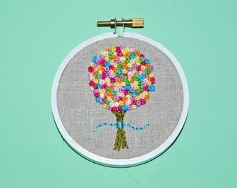 READY TO SHIP Embroidered Hoop Art - Floral Hoop Ornament - Colorful Flower Embroidery - Gift for Her