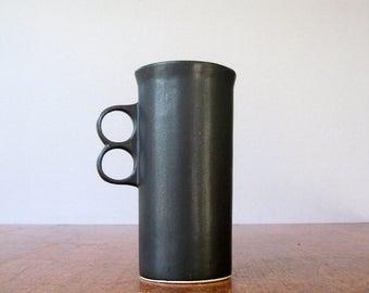 Mid Century Bennington Pottery Tall Black Trigger Mug - David Gil