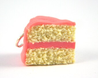 Vanilla Cake Slice Charm , Vanilla Cake Charm , Vanilla Cake with Pink Frosting , Pink Cake Charm , Cake Jewelry , Pastel Pink Cake Charm