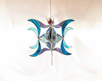 Stained glass suncatcher, window hanging, 3 dimensional multi-layered sun catcher in blues, purple, red and iridescent colors, 12 x 12 x 10