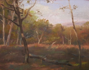 Fall Landscape With Trees, Oil Painting, Late Afternoon View,