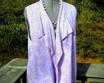 L. City Vest in lilac bamboo fleece fabric. Many ways to wear it! Cozy And Stylish.