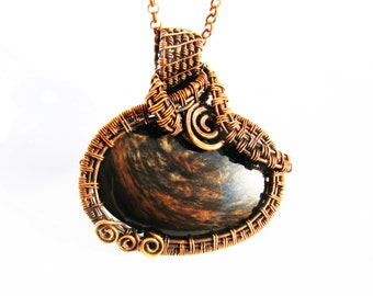 "Large Pendant - Incredible Golden Obsidian Cabochon with Oxidized Copper Wire - 2.5"" x 2.25"" (65mm x 60mm) - Chain Included"