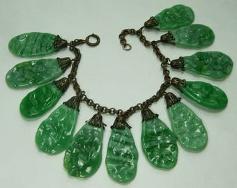 1930s Haskell Style Bracelet Faux Jade French Poured Glass Drops Art Deco Bracelet